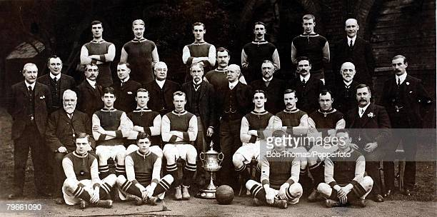 Sport Football Aston Villa FC 19081909 Back row LR T Lyons J Logan F Miles W Garraty A Logan Mr J Grierson 3rd row LR MrG Ramsay Secretary MrH Toney...