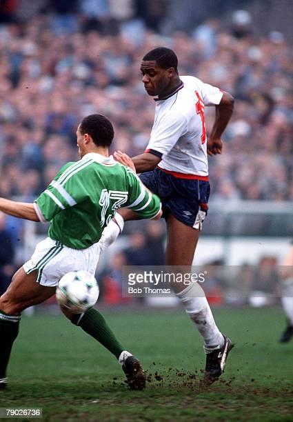 Sport Football 'B' International Cork 27th March 1990 Republic of Ireland 'B' 4 v England 'B' 1 England's Dalian Atkinson shoots past Ireland's Terry...
