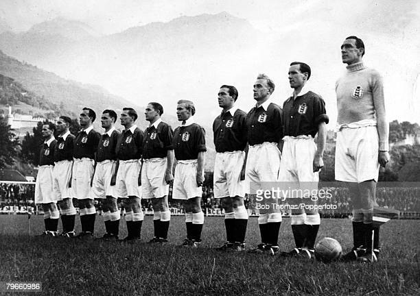 Sport Football Bellinzona May 1948 Switzerland 'B' 1 v England 'B' 5 The England team lineup before the match This was Alf Ramsey's first...