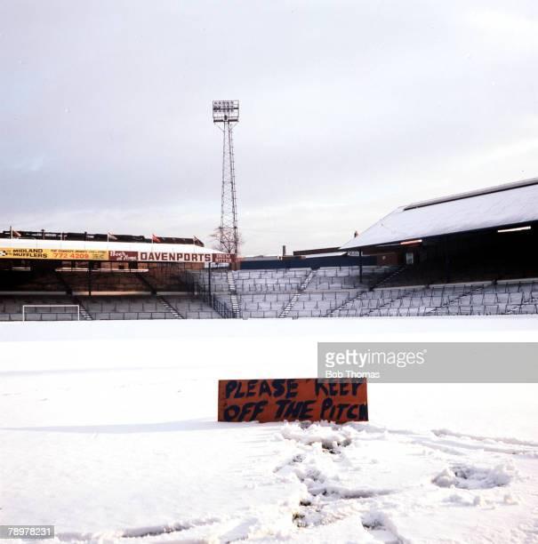 Sport Football Birmingham City Football Club'StAndrews' covered in snow circa 1977