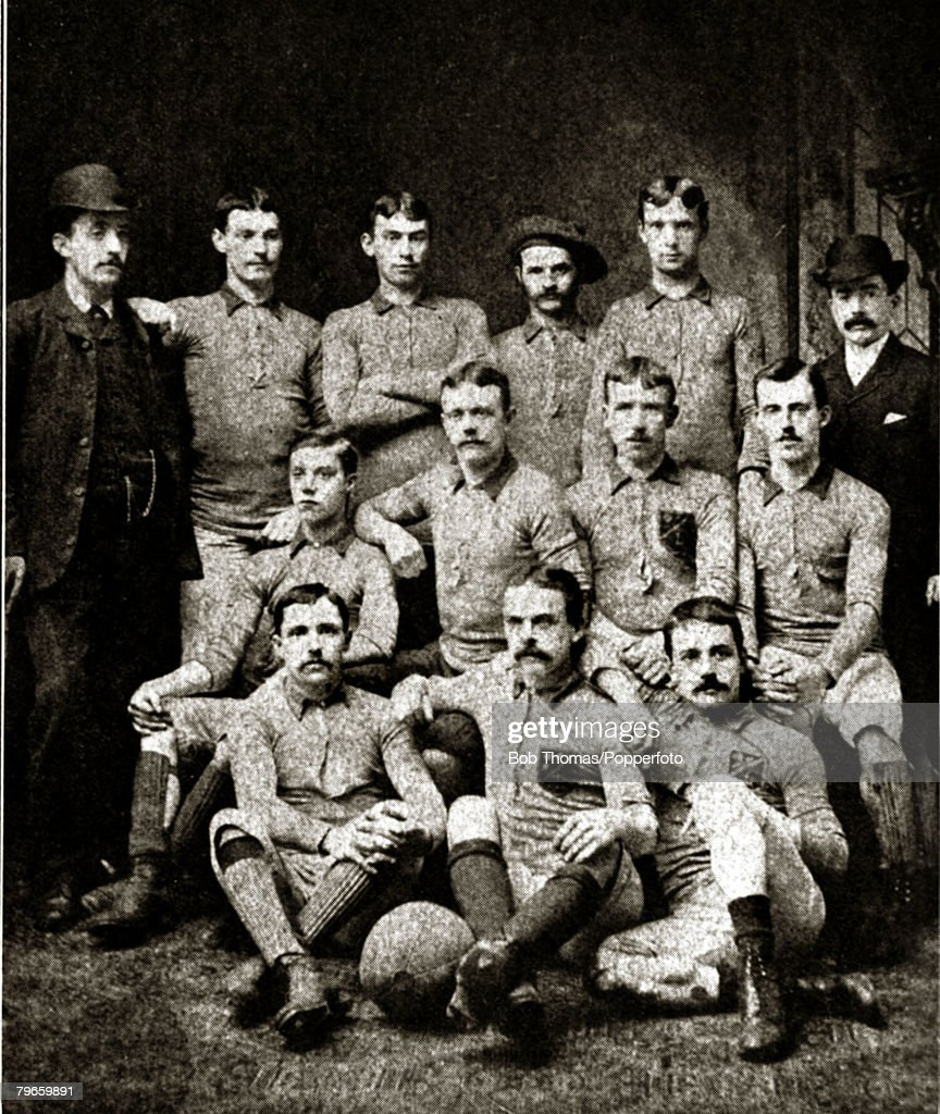 Sport, Football, Blackburn Olympic, English F,A,Cup winners 1883 beating Old Etonians 2-1 a,e,t, Blackburn Olympic, back row l-r, W,Bramham, (Secretary), G,Wilson T,Dewhurst, T,Hacking, J,T,Ward, A,Astley, (Treasurer),Middle row, l-r, J,Costley, J,Hunter, : News Photo