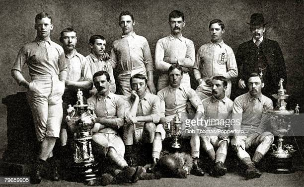 Sport Football Blackburn Rovers English FACup winners 1884 beating Quuens Park Glasgow 21 at Kennington Oval Blackburn Rovers Back row LR JLofthouse...