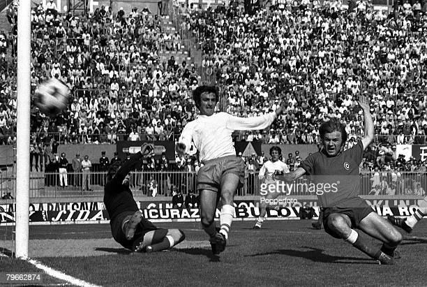 Sport Football Bologna Italy 12th June 1971 AngloItalian Cup Final Bologna 1 v Blackpool 2 Blackpool's Micky Burns hits a shot wide as he is put...