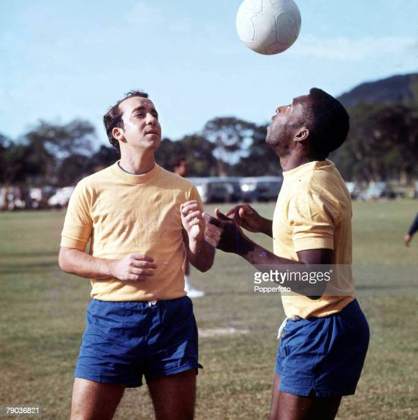 Sport Football Brazil's Pele controls the ball using his head watched by teammate Tostao during a training session Both were stars of the 1970 World...