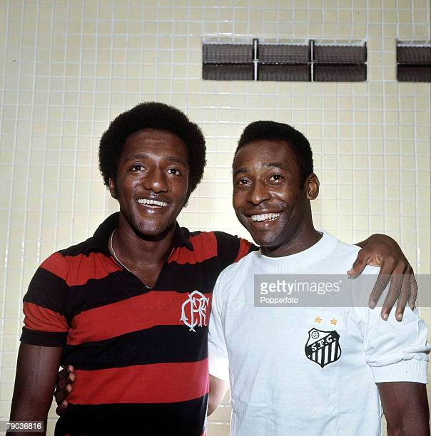 Sport Football Brazil's Pele talks to Paulo Cesar Lima Both were stars of the victorious Brazil team of the 1970 World Cup Finals in Mexico