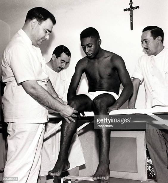 Sport Football Brazil's young star Pele has his knee examined by medical staff Pele was perhaps the most famous footballer of all time and featured...