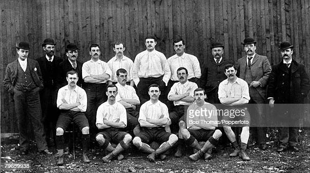 Sport Football circa 1895 Bolton Wanderers FC who were the English FA Cup finalists of 1894 going down 41 to Notts County