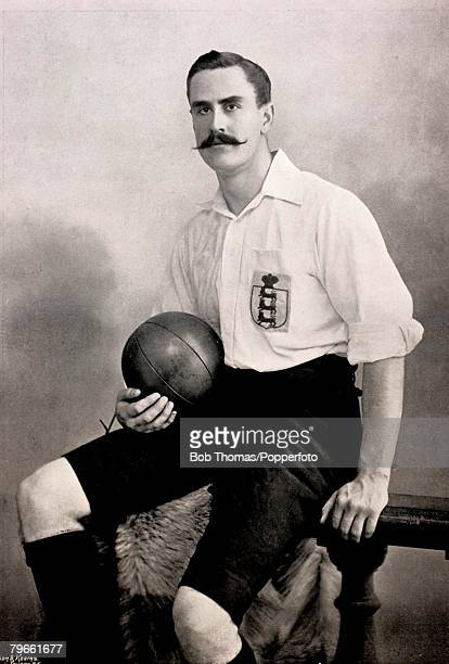 Sport Football circa 1896 Portrait of W R Moon England Goalkeeper who also kept goal for the Corinthians the Old Westminsters and the London...
