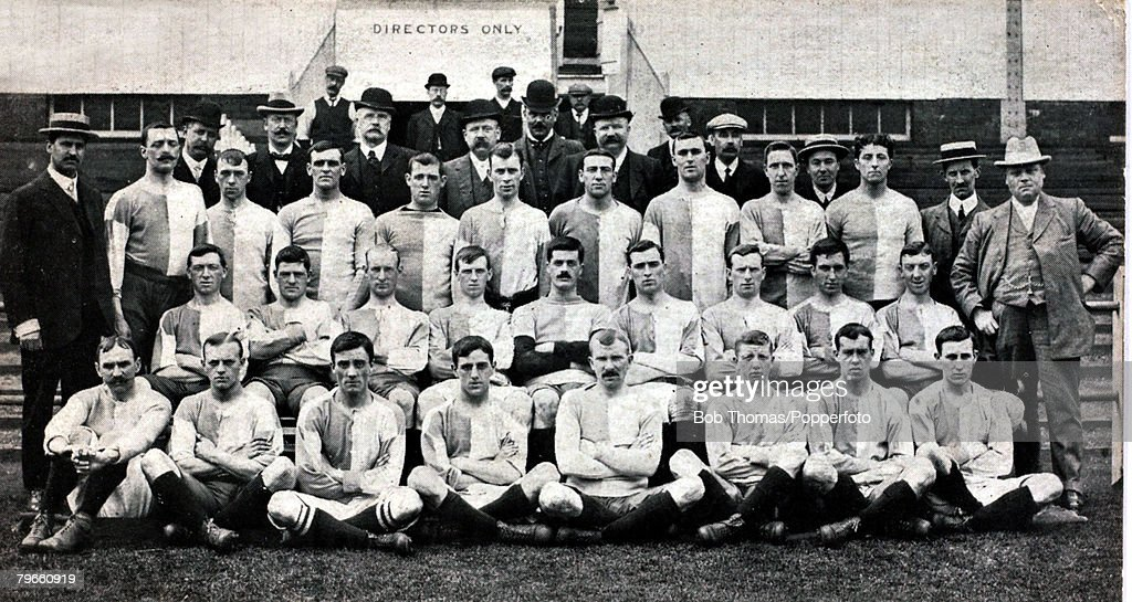 Sport, Football, circa 1905, Blackburn Rovers F,C, Back row, L-R: J,Forrest, T,A,Leaver, J,Shorrock, L,Cotton, W,Wilkinson, T,Gillibtrand, J,Dawson, H,Garstang, Second row, L-R: R,Middleton, R,Crompton, (captain), Mauson, Atherton, McIvor, Manning, Camero : News Photo