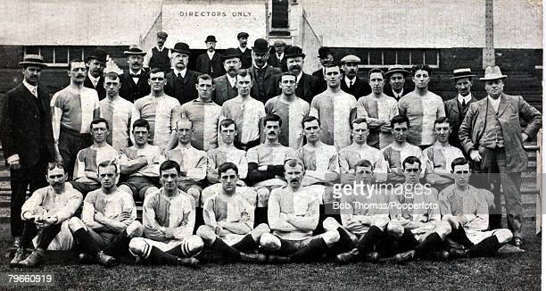 Sport Football circa 1905 Blackburn Rovers FC Back row LR JForrest TALeaver JShorrock LCotton WWilkinson TGillibtrand JDawson HGarstang Second row LR...