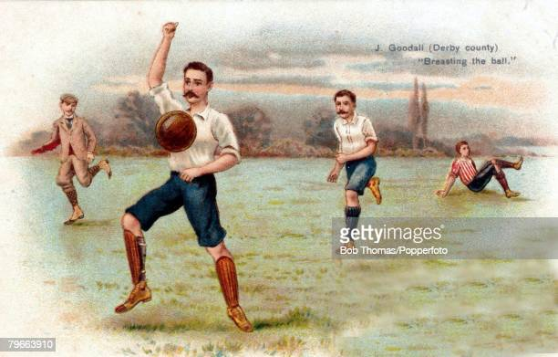 Sport Football Circa 1905 Colour postcard illustration shows JGoodhall Derby County breasting the ball down