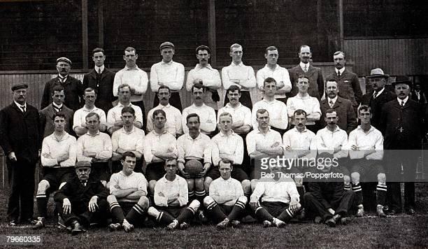 Sport Football circa 1905 The Tottenham Hotspur team for the 19051906 season pose together for a group photograph Back row LR JOver TDeacock...