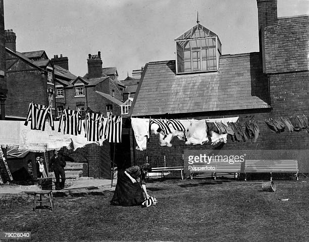 Sport Football circa 1907 An unusual picture of the Newcastle United strip having been washed being hung out to dry Newcastle United were perhaps the...