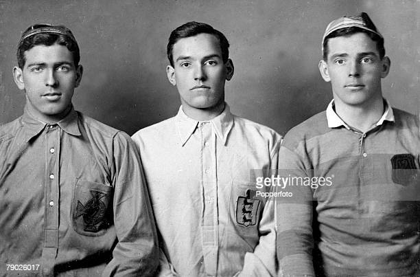 Sport Football circa 1908 Newcastle United's LR Bill McCracken Colin Veitch and Jimmy Howie pose in their international jerseys McCracken for Ireland...