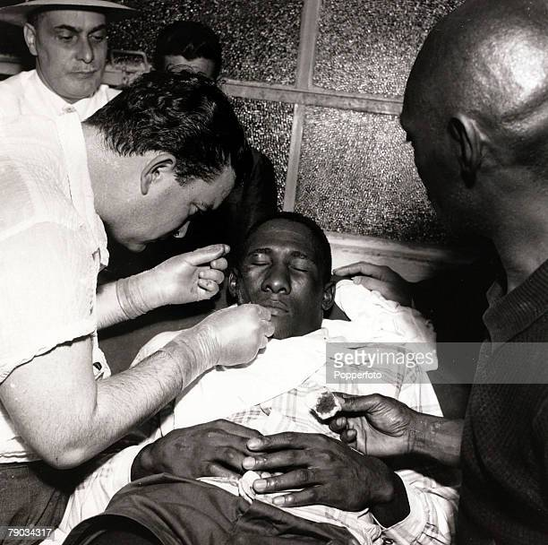 Sport Football circa 1957 Brazil star Djalma Santos in the treatment room where he is having his face stitched He played in 4 World Cups for...