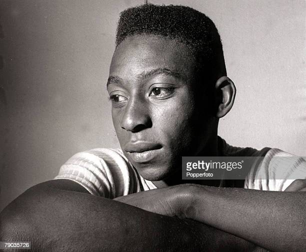 Sport Football circa 1958 Brazil's young internatiopnal star Pele portrait Pele was perhaps the most famous footballer of all time and featured in 4...