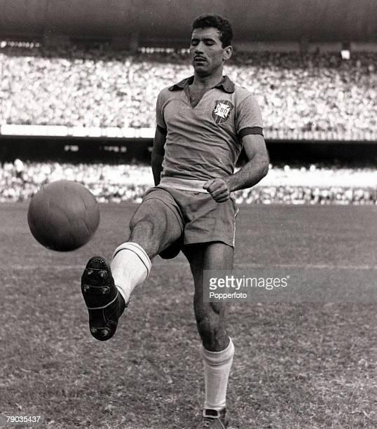 Sport Football circa 1959 Brazilian international Nilton Santos before a game in the Maracana Stadium Rio de Janeiro He had a long international...