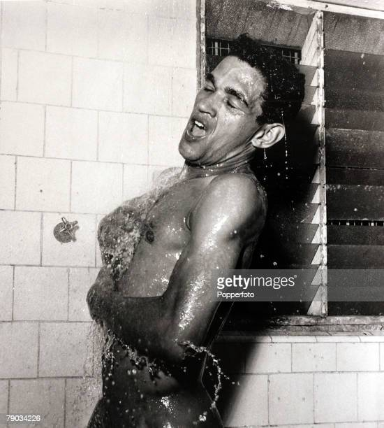 Sport Football circa 1960 Brazil star Garrincha appears to be singing in the shower He played 60 times for Brazil and with he and Pele in the team...