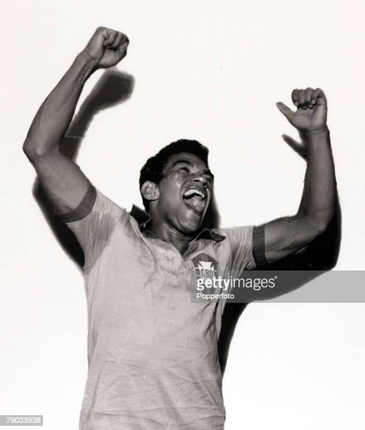 Sport Football circa 1960 Brazil star Garrincha in happy mood He played 60 times for Brazil and with he and Pele in the team the national side never...