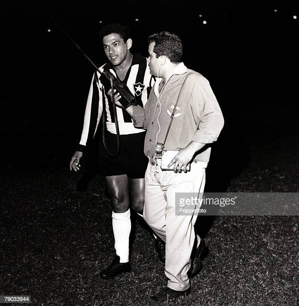 Sport Football circa 1960 Brazil star Garrincha in his Botafogo club strip being interviewed after a game He played 60 times for Brazil and with he...