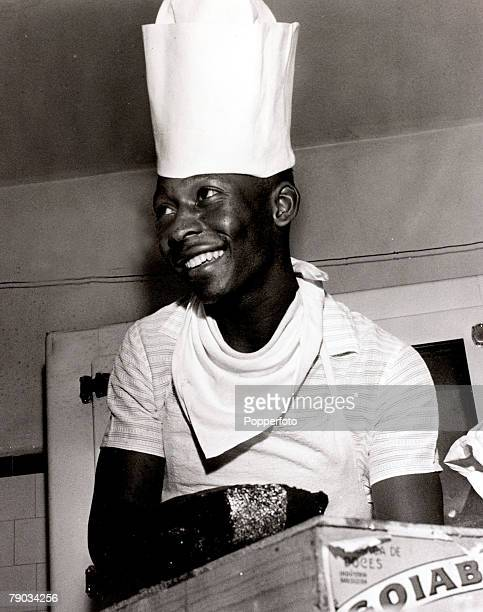 Sport Football circa 1960 Brazil star Pele wearing a chefs hat enjoys himself in the kitchen Pele was perhaps the greatest player of all time he...