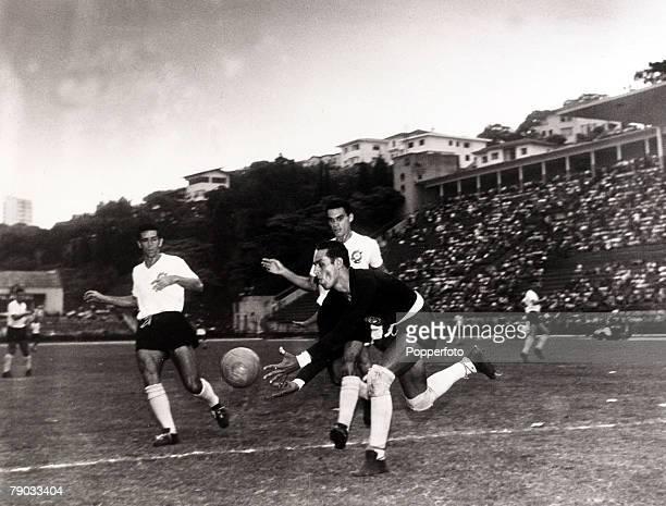 Sport Football circa 1960 Brazil's international goalkeeper Gilmar playing in a club game in South America Gilmar was the top goalkeeper in Brazil...