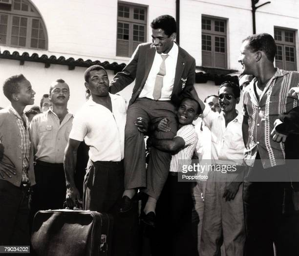 Sport Football circa 1962 Brazil star Garrincha is carried shoulder high as he receives a hero's welcome He played 60 times for Brazil and with he...