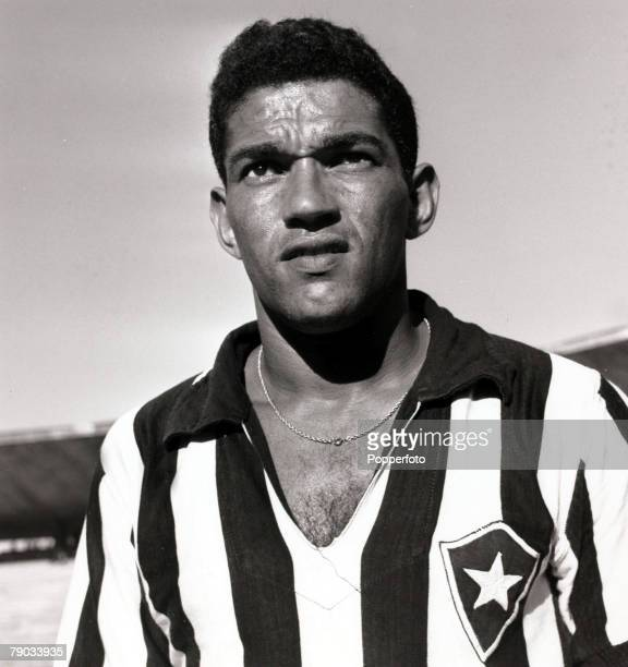 Sport Football circa 1962 Brazil star Garrincha pictured in his Botafogo club strip He played 60 times for Brazil and with he and Pele in the team...