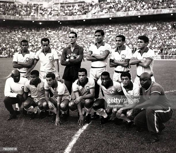 Sport Football circa 1966 Brazil line up before a match players only Back row LR Fidelis Zito Gilmar Brito Altair Paulo Henrique Front row LR players...