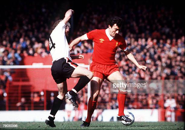 Sport Football Circa 1970's Anfield England Liverpool v Bristol City Liverpool's Ray Kennedy is challenged by Bristol City's Gerry Gow