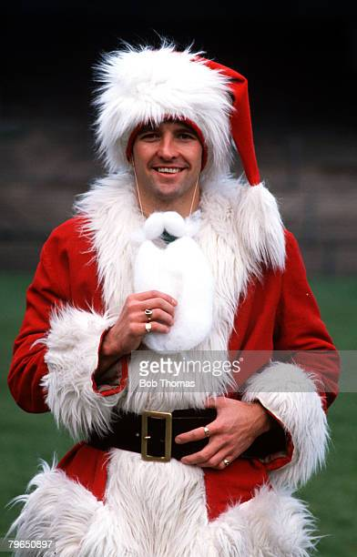 Sport Football Circa 1980's Steve Bull of Wolverhampton Wanderers and England is pictured dressed as Father Christmas