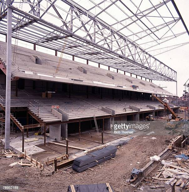 Sport Football Circa 1990's London England The new North Stand at Arsenal's Highbury stadium during development