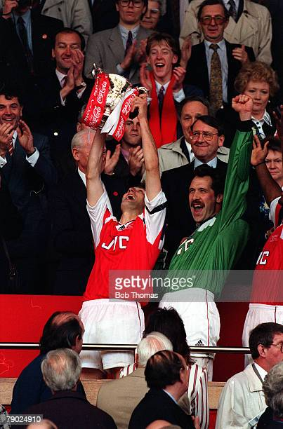 Sport Football Coca Cola Cup Final Wembley London England 18th April 1993 Arsenal 2 v Sheffield Wednesday 1 Arsenal captain Tony Adams holds the...