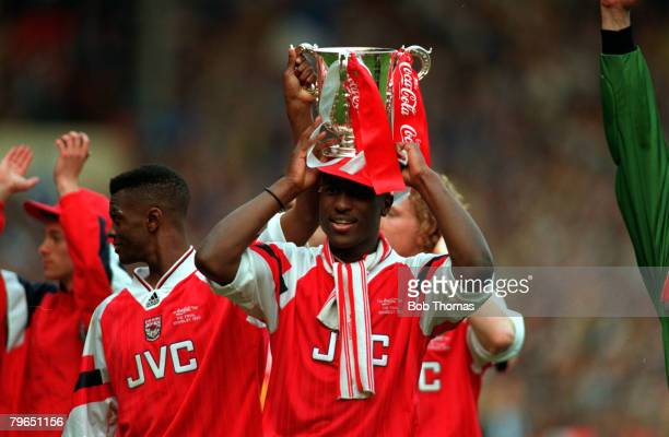 Sport Football CocaCola Cup Final Wembley 18th April 1993 Arsenal 2 v Sheffield Wednesday 1 Arsenal's Kevin Campbell holds the trophy aloft