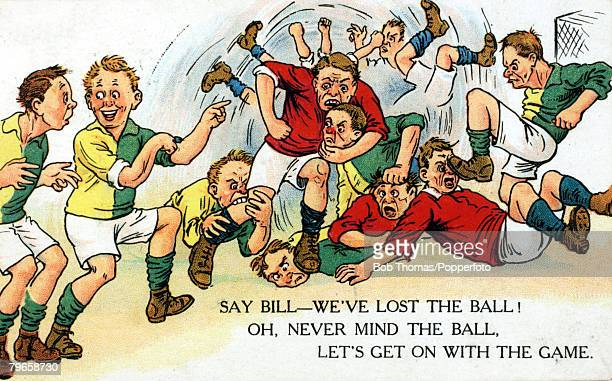 Sport Football Colour illustration pic circa 1920 A colour cartoon showing a football match with the characters more interested in 'fisticuffs' than...