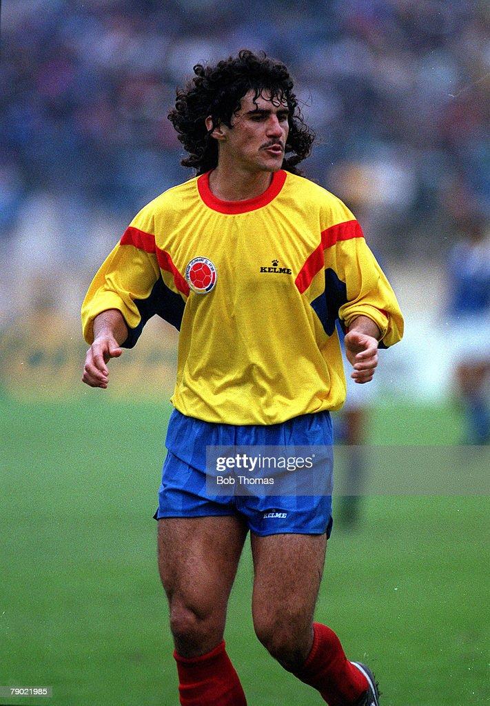 Sport. Football. Copa America. Chile. 13th July 1991. Brazil 0 v Colombia 2. Colombia's Leonel Alvarez. : News Photo