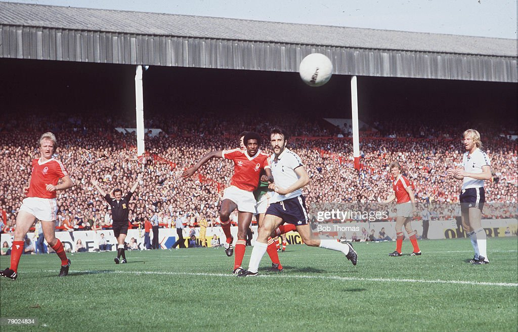 Sport. Football. Division One. City Ground, England. 1978. Nottingham Forest v Tottenham Hotspur. Forest's Viv Anderson clears from Tottenham's new striker Ricardo Villa. : News Photo