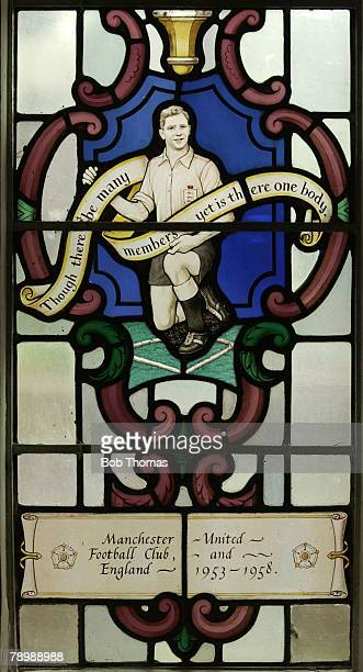 Sport, Football, Dudley, Former Manchester United and England legend Duncan Edwards is featured on a unique stained glass window at his local parish...