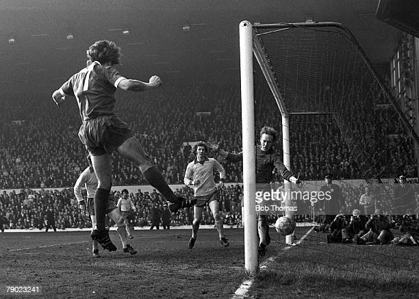 Sport Football England 10th March 1973 League Division One Liverpool 3 v Southampton 2 Liverpool's Kevin Keegan heads a goal at Anfield
