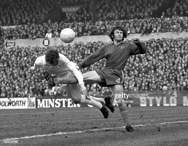 Sport Football England 17th February 1973 League Division One Leeds United 1 v Chelsea 1 Leeds United's Mick Jones is challenged by Chelsea's John...