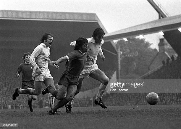 Sport Football England 26th October 1974 League Division One Liverpool 1 v Leeds United 0 Liverpool's Kevin Keegan moves between Leeds defenders...
