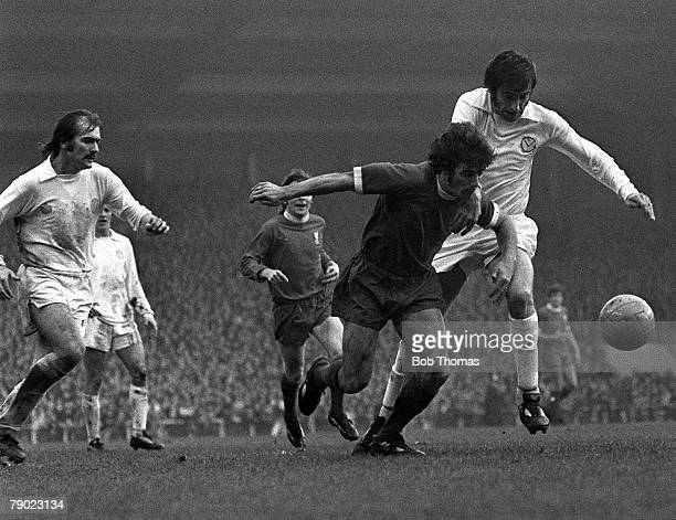 Sport Football England 26th October 1974 League Division One Liverpool 1 v Leeds United 0 Liverpool's Kevin Keegan is challenged by Leeds defender...