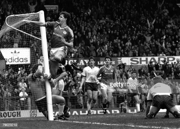 Sport Football England 2nd April 1988 League Division One Manchester United 4 v Derby County 1 Manchester United's Colin Gibson celebrates after...