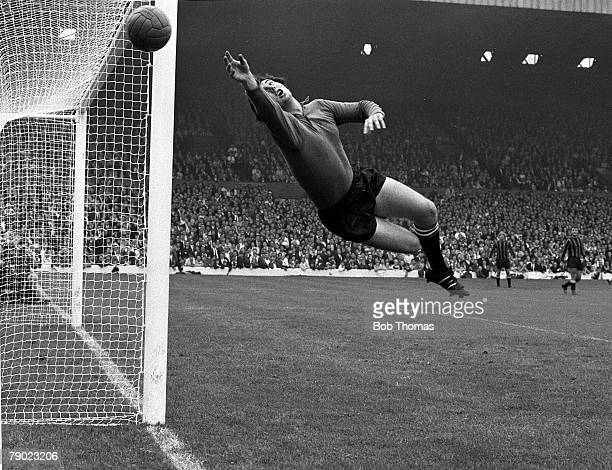 Sport Football England 2nd August 1969 Charity Shield Leeds United 2 v Manchester City 1 Manchester City goalkeeper Joe Corrigan dives spectacularly...
