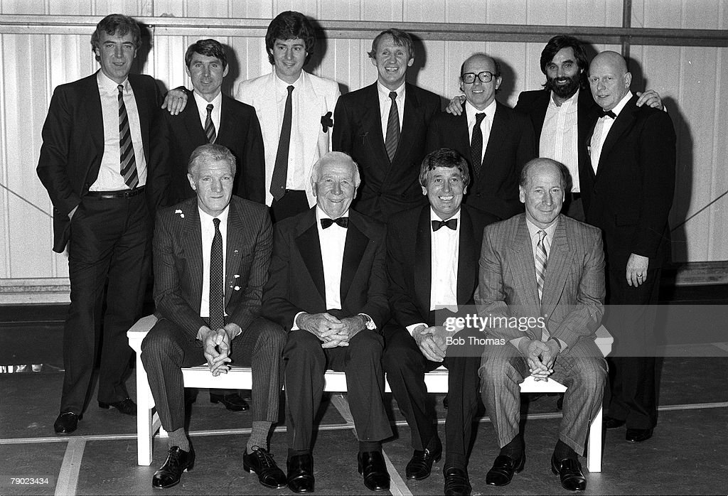 Sport, Football, England, 6th April 1987, Members of the 1968 Manchester United European Cup winning team are pictured during a reunion, Back Row Left to Right: David Sadler, Tony Dunne, Brian Kidd, Paddy Crerand, Nobby Stiles, George Best, Wilf McGuinness, Front Row: Bill Foulkes, Sir Matt Busby (Manager), Shay Brennan, and Bobby Charlton
