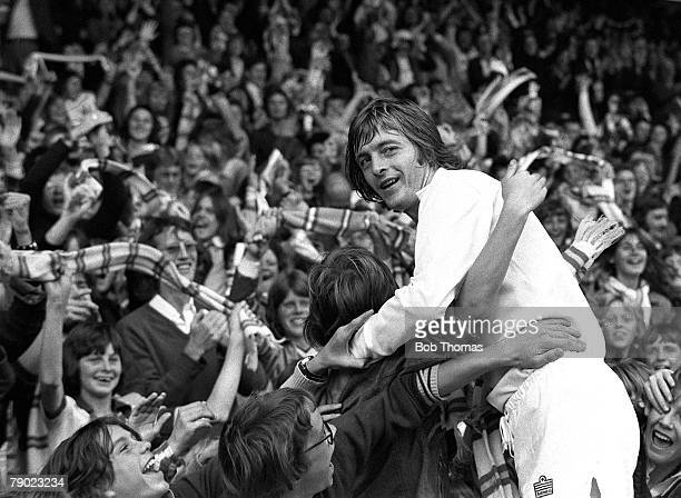Sport Football England 6th September 1975 League Division One Leeds United 3 v Wolverhampton Wanderers 0 Leeds United striker Allan Clarke is mobbed...