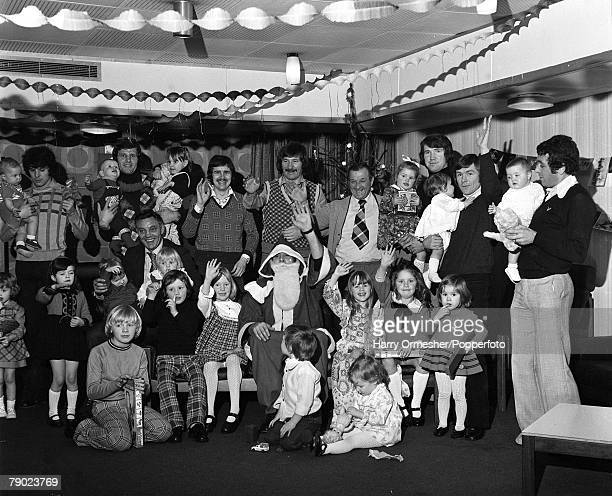 Sport Football England December 1974 The Liverpool FC players management and their children celebrate at the clubs Christmas Party