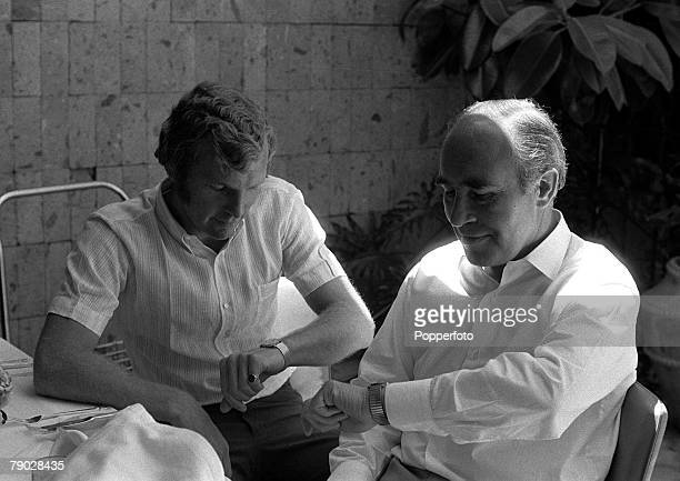 Sport Football England in Mexico 1970 World Cup Finals June 1970 England captain Bobby Moore is pictured with team Manager Alf Ramsey as they check...