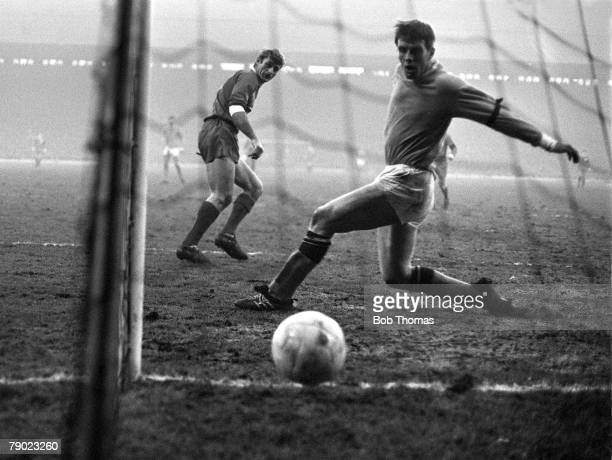 Sport Football England League Division One Liverpool v Manchester City Liverpool's Roger Hunt scores past Manchester City defender Alan Oakes at...