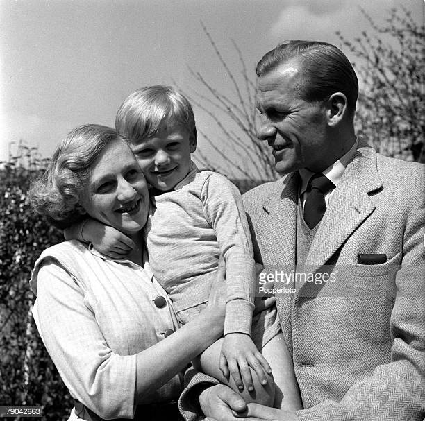 Sport Football England Manchester City goalkeeper Bert Trautmann is pictured with his wife Margaret and son John